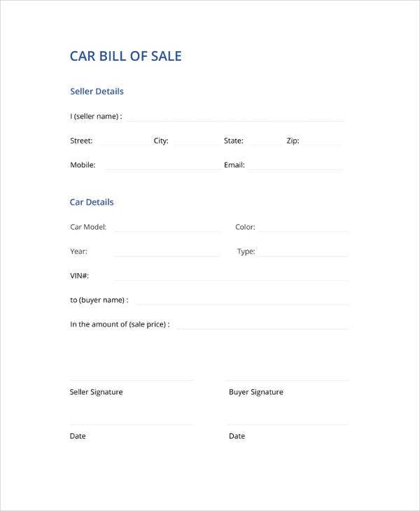 Simple bill of sale for car pdf