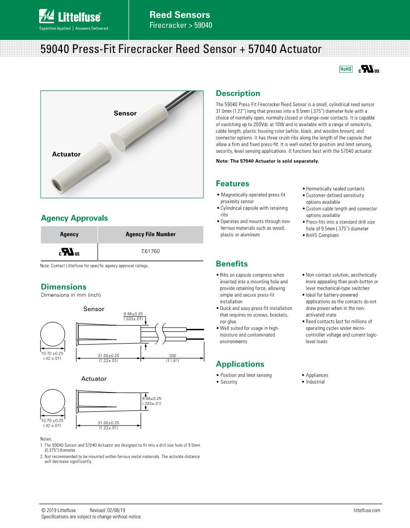 Reed switch sensor datasheet pdf