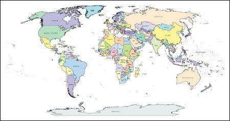 World map with countries and capitals and cities pdf
