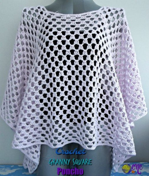 Crochet poncho with granny square guide tutorial