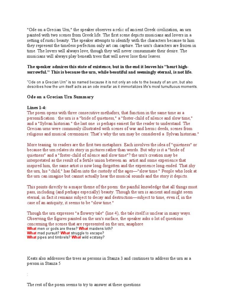 Ode on a grecian urn summary pdf