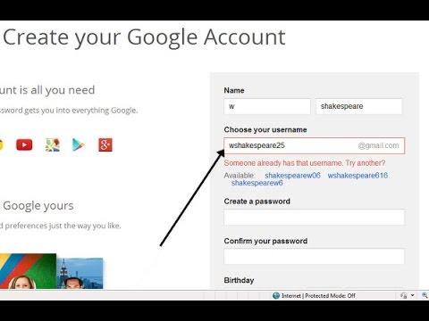 Procedure on how to create new google account