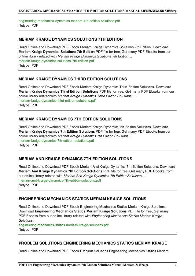 engineering mechanics statics 8th edition solution manual meriam kraige pdf