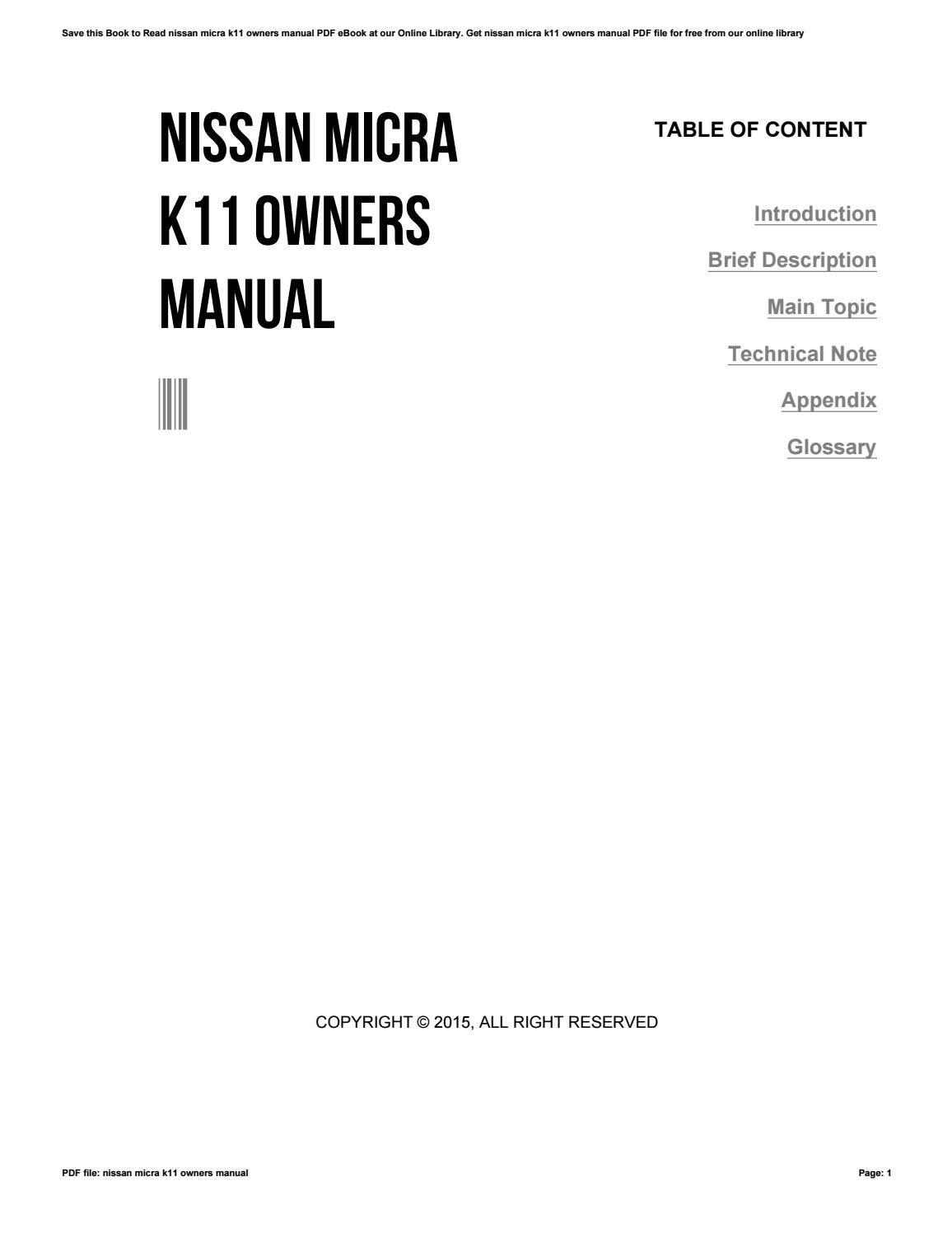 nissan micra k11 service manual