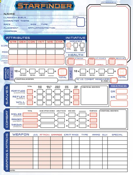 Starfinder character sheet editable pdf